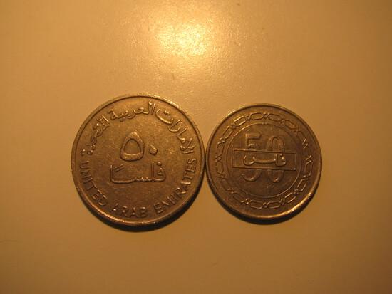 Foreign Coins: 2005 Bahrain & 1989 United Arab Emirtaes  50 Felsas