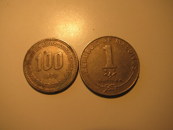 Foreign Coins:  1979 Korea 100 Won & 1982 Maldives 1 Rufiyaa