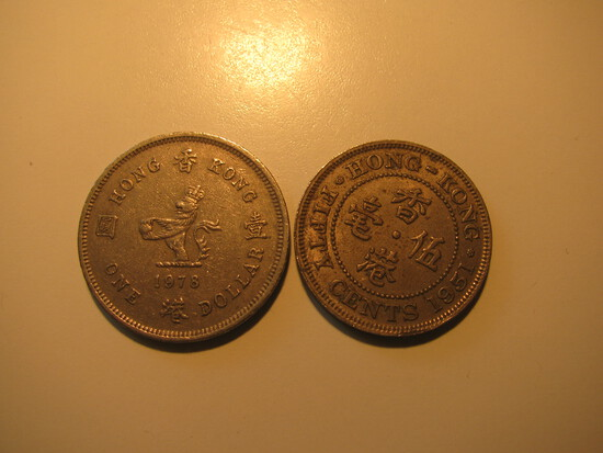 Foreign Coins: 1978 Hong Kong $1& 1951 50 Cents