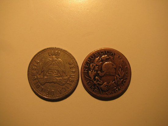 Foreign Coins: 1959 Colombia 5 Centavos & 1991  50 Pesos