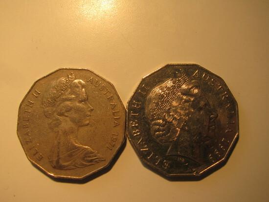 Foreign Coins:  1971 & 1999 Australia 50 cents big coins