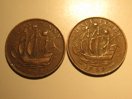 Foreign Coins: 1952 & 1959 Great Britain 1/2 Pennies