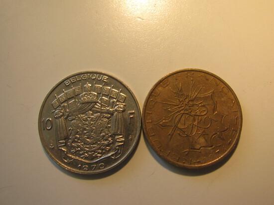 Foreign Coins: 1970 & 1976 Belgium 10 Francs