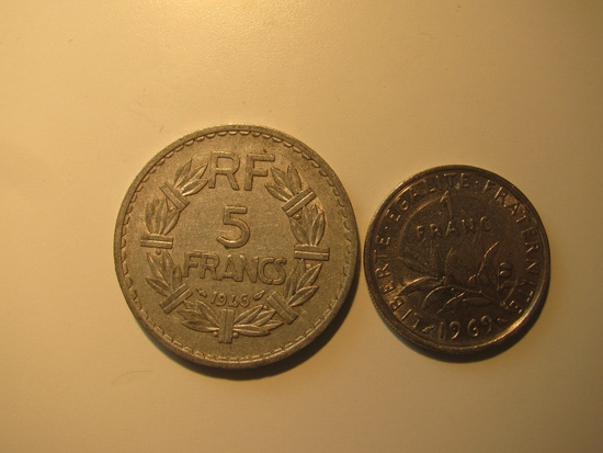 Foreign Coins:  1946 France 5 Francs & 1969 1 Franc