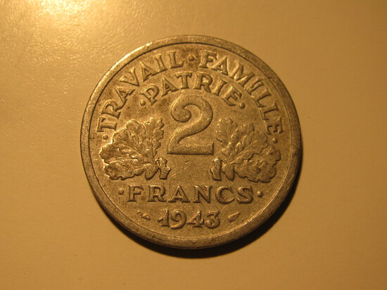 Foreign Coins:  WWII 1943 France 2 Francs