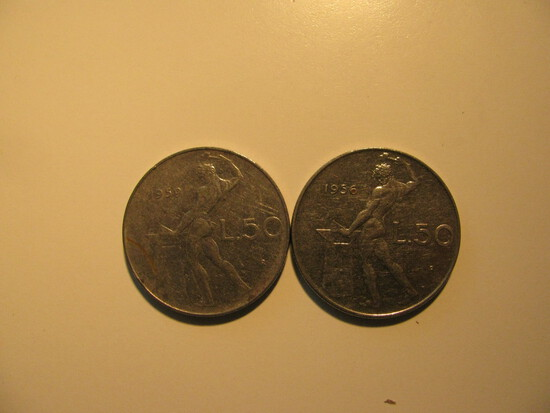 Foreign Coins:  1956 & 1959 Italy 50 Lires