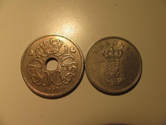 Foreign Coins:  1963 Demark 1 & 1990 5 Krones