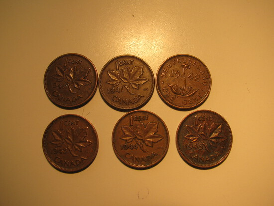 Foreign Coins:  WWII 1940- 1945 Six Canada 1 Cents