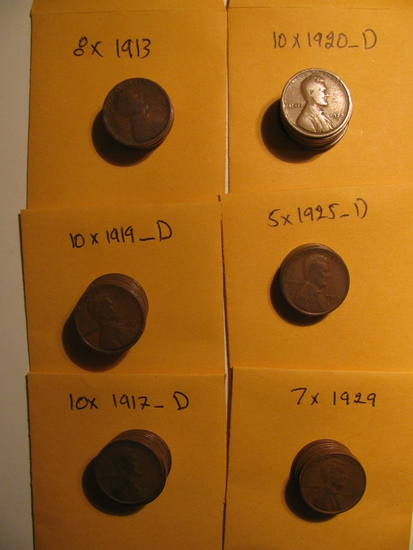 50 Better Dates Wheat pennies from1910s & 1920s