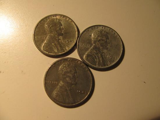 US Coins: 3x 1943 Steel pennies