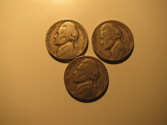 US Coins: 3x1947 5 cents