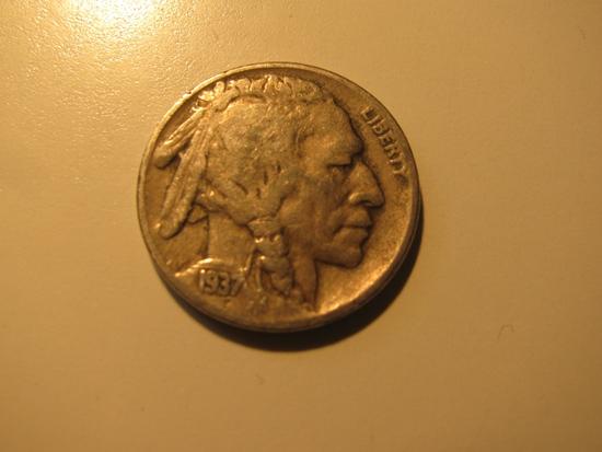 US Coins: 1937-D Buffalo 5 cents
