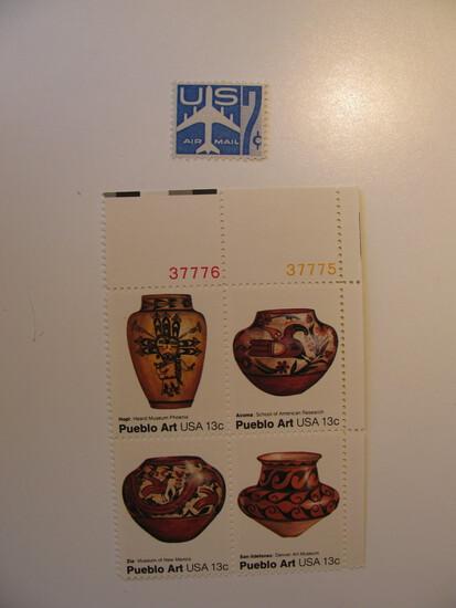 5 Vintage Unused Mint U.S. Stamps