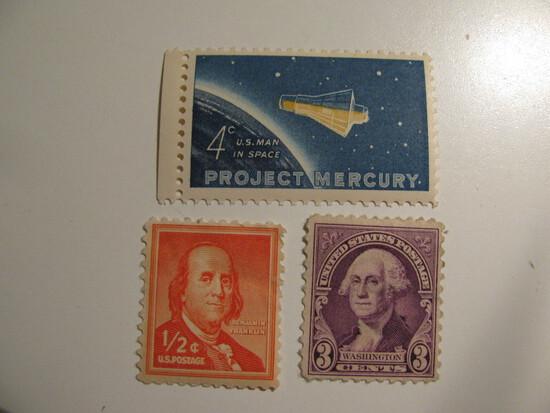 3 Vintage Unused Mint U.S. Stamps