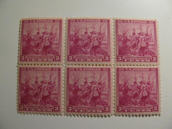 6 Vintage Unused Mint U.S. Stamps