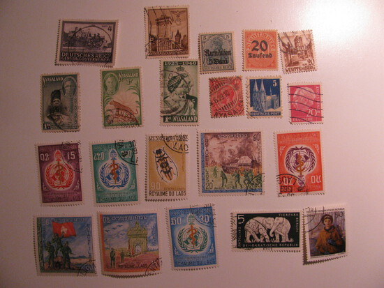 Vintage stamps set of: Germany, Nyasaland & Laos