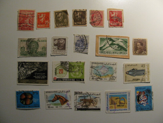 Vintage stamps set of: Norway, Iraq & Mexico