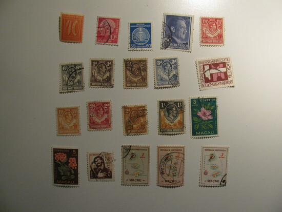 Vintage stamps set of: Germany, Rhodesia & Macau