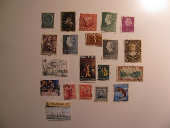 Vintage stamps set of: Netherlands & New Zealand