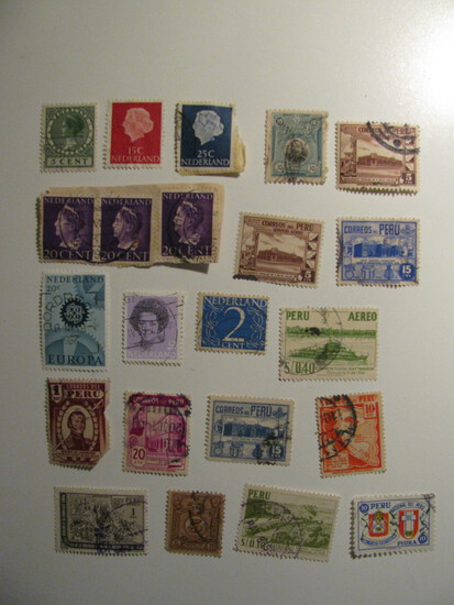 Vintage stamps set of: Netherlands & Peru