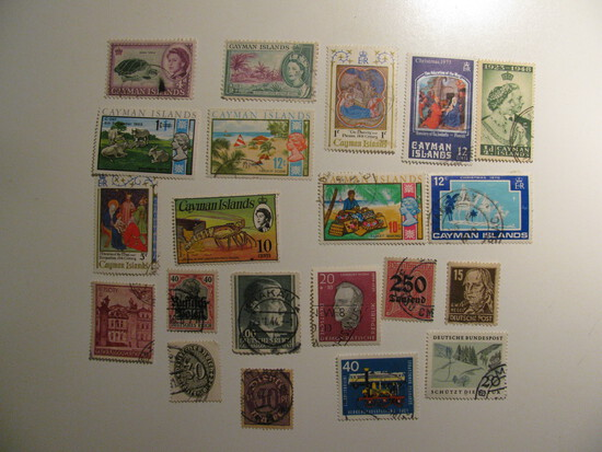 Vintage stamps set of: Germany & Cayman Islands