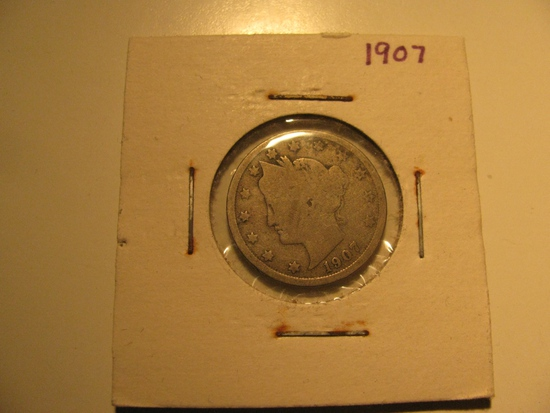 US Coins: 1907 Liberty V 5 cents