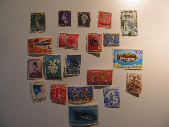 Vintage stamps set of: Indonesia, Netherlands & Luxemburg