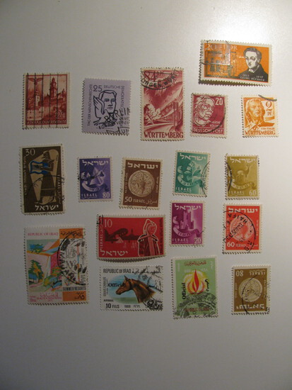 Vintage stamps set of: Iraq, Israel & Germany