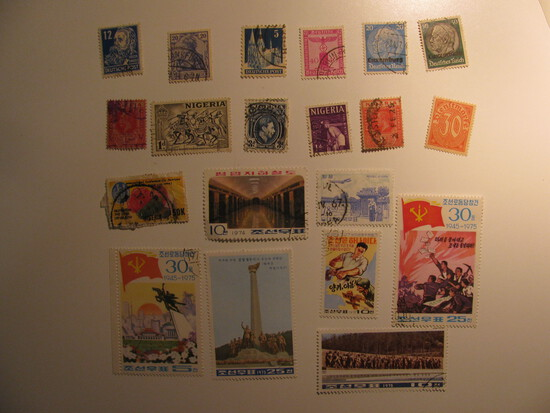 Vintage stamps set of: Niger, Nigeria, N. Korea & germany