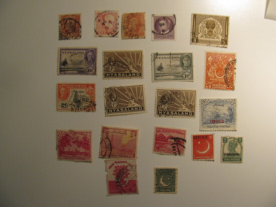 Vintage stamps set of: Nyasaland, Pakistan & Sweden
