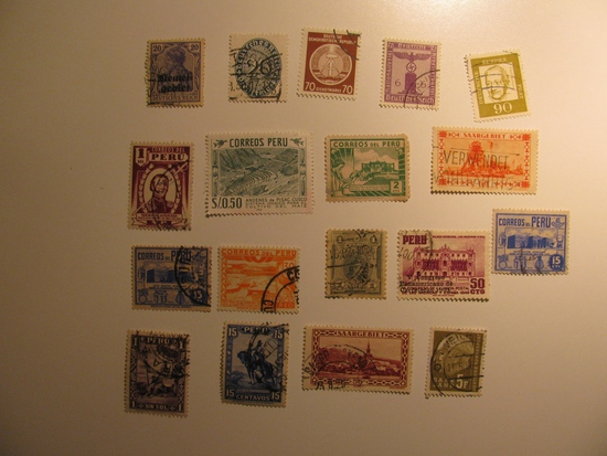 Vintage stamps set of: Peru, Saar & germany