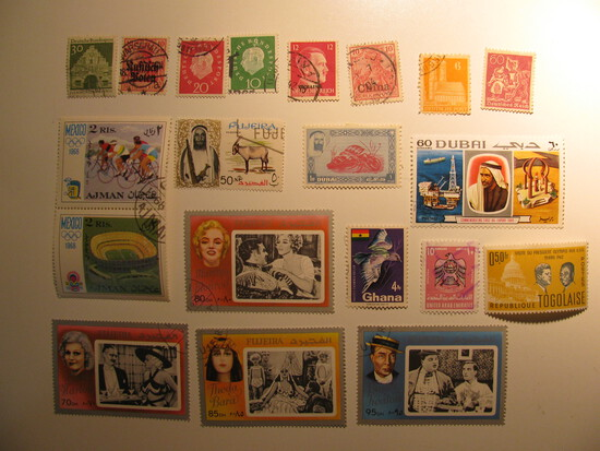 Vintage stamps set of: Ajman, Fujerieh, Dubai, Ghana, Togolaise & Germany