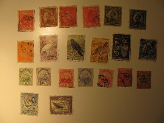 Vintage stamps set of: Yugoslavia, Aden & Bermuda