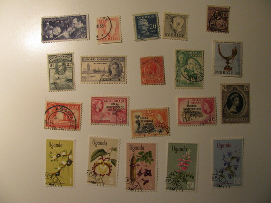 Vintage stamps set of: Sweden Gold Coast, Uganda,