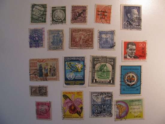 Vintage stamps set of: Colombia & Germany