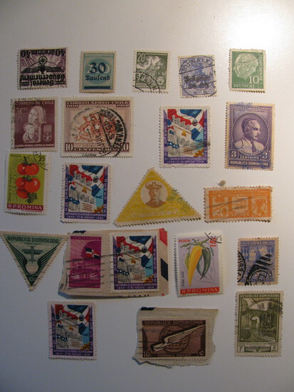 Vintage stamps set of: Chile, Dominican Republic & Germany