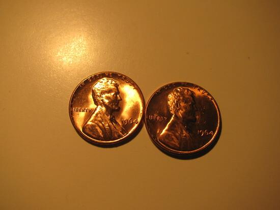 US Coins:  2xBU/Very Clean 1964  pennies
