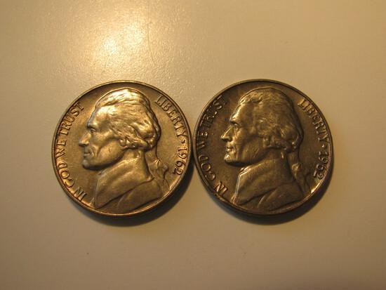 US Coins: 2x BU Clean 1962 5 Cents