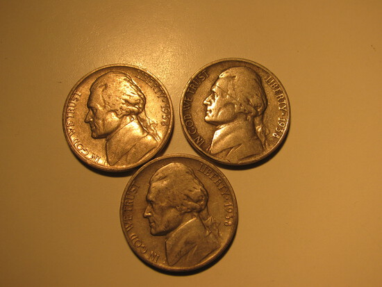 US Coins: 3x1938 5 cents