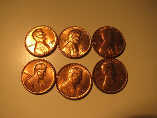 US Coins:  6xBU/Very Clean 1970-D penneis