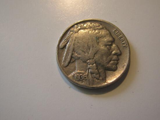 US Coins: 1x1936 Buffalo 5 cents
