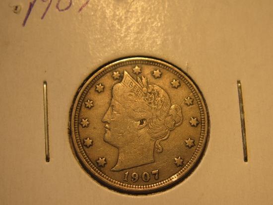 US Coins: 1907 Liberty V 5 cents