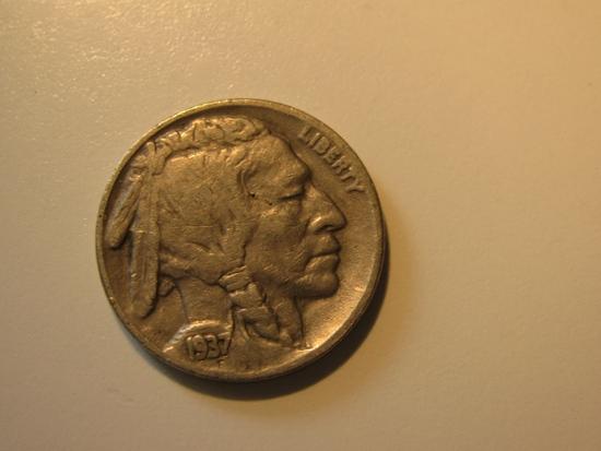 US Coins: 1937 Buffalo 5 Cents