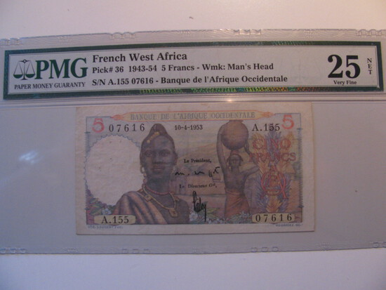 PMG Graded: Very Fine French West Africa 1943-54 5 Francs