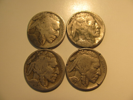 US Coins: 4X Buffalo 5 Cents(Dates not Clear)