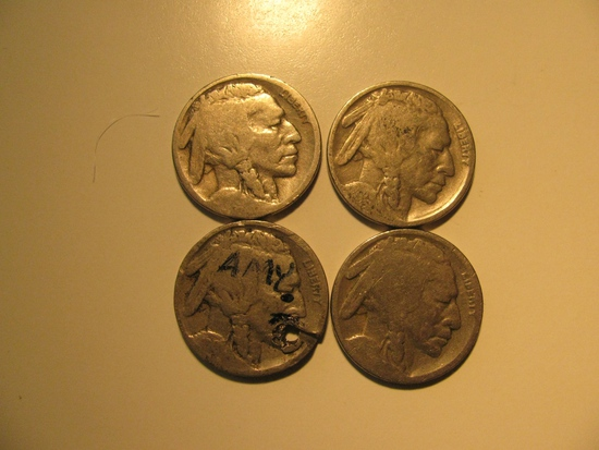 US Coins: 3X Buffalo 5 Cents(Dates not Clear)