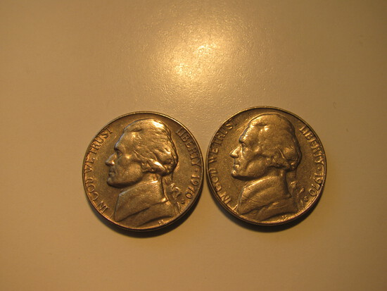 US Coins: 2xClean 1970-S 5 Cents