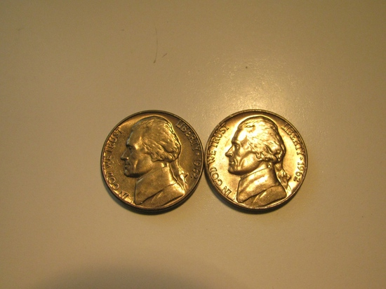 US Coins: 2xClean 1962 5 Cents