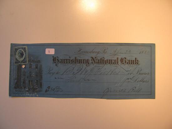 Vintage Check: 1880 Harrisburg National bank