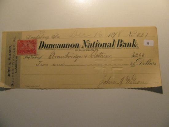 Vintage Check: 1898 Ducannon National Bank